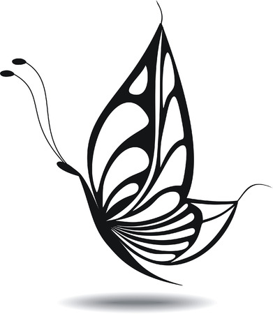 butterfly isolated: Butterfly Isolated silhouette. Tatoo