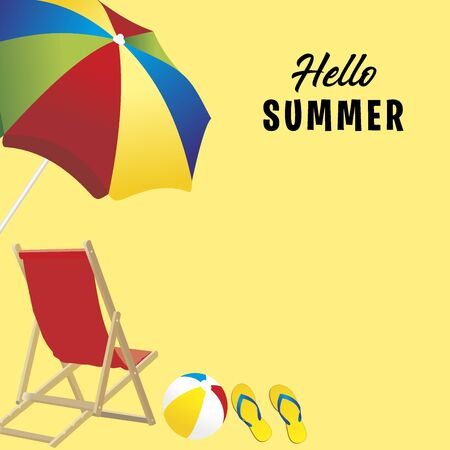 summer illustration with beach umbrella and ball. Yellow background