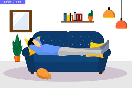 illustration of a man who relaxes lying on the sofa at home