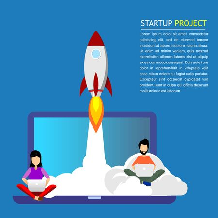 Startup. A man and woman work with a laptop while a rocket takes off from the PC Illustration