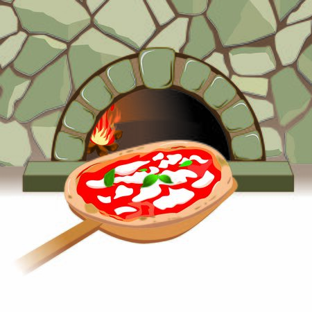 stone oven. Graphics with shovel and pizza ready to bake
