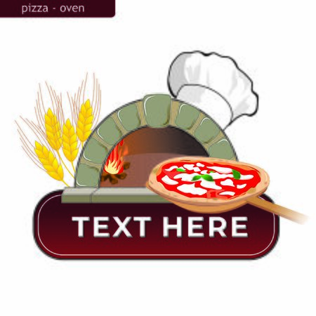 clipart of a burning wood oven with a pizza on a shovel and a chef's hat