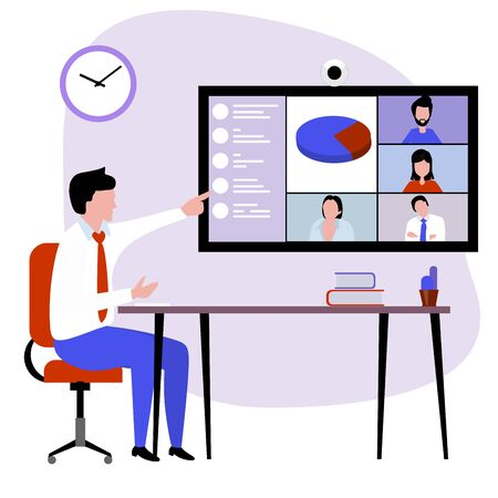 conference calls in an office in smartworking mode illustrate the company's financial performance