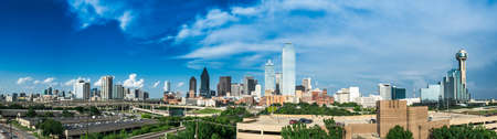 Panorama of the Dallas Texas Skyline on a partly cloudy day. Stock Photo