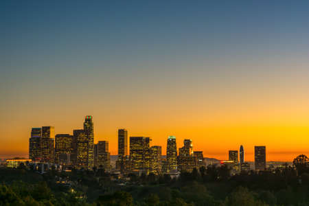 view of the dowtown los angeles lights at sunset from Elysian Park Stock Photo