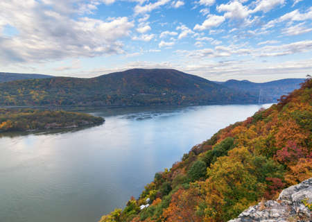 Hudson River, New york. View of Bear Mountain from the east side of the Hudson River