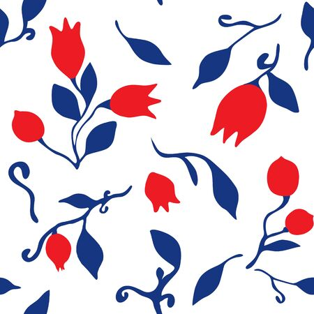 Seamless pattern of tulips, buds and leaves. For design of textiles, fabric, paper, notebooks, kitchen dishes