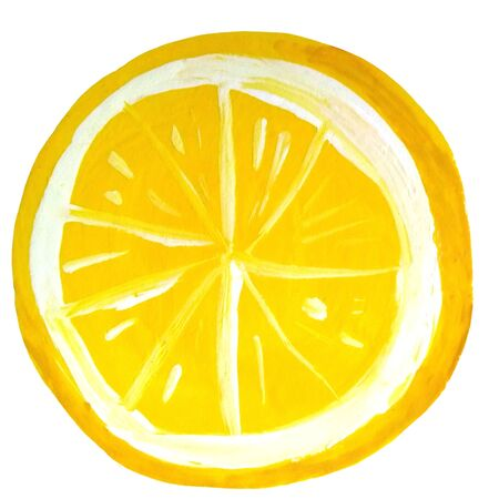 Lemon slice drawn in gouache. For the design of kitchen items, napkins, dishes, packaging