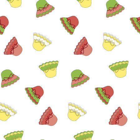 Seamless pattern with children multicolored panama