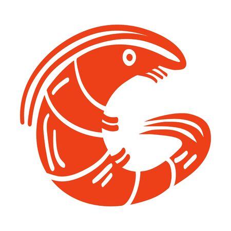 Shrimp icon, colored illustration. Letter G from the alphabet. Stock Illustratie