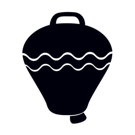 Black and white drawing of a cow bell. Livestock bell icon
