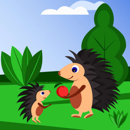Cartoon illustration of two hedgehogs in a clearing with bushes and trees. An adult hedgehog gives the little hedgehog an apple. Design of children greeting cards, notebooks, cups, baby t-shirts