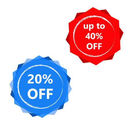 20% discount off in red polygon and up to 40% off on blue translucent polygon