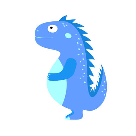 Funny blue dinosaur. Vector cartoon illustration dino for children. Illustration for printing on cards, posters, T-shirts, cups