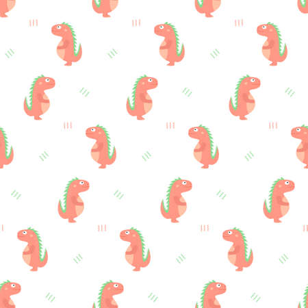 Cute dinosaurs on a white background. Children colorful print, seamless pattern Stock Illustratie