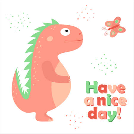 Have a nice day! - postcard with a cute dinosaur and a butterfly. Vector cartoon illustration for children. Illustration for printing on cards, posters, t-shirts, cups Stock Illustratie