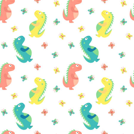Children cartoon multicolor print, seamless pattern. Cute multicolored dinosaurs and butterflies on white background