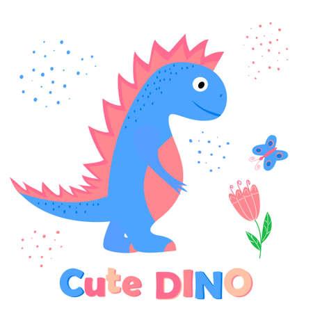 Cute dino - vector cartoon illustration of a dinosaur for kids. Illustration for print