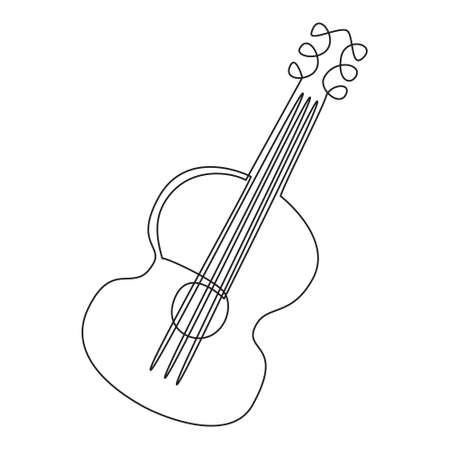 Single continuous line drawing of a guitar, line art. Black and white contour vector illustration of a guitar. For poster, print, postcard. Design of music stores, festivals, flyers, invitations