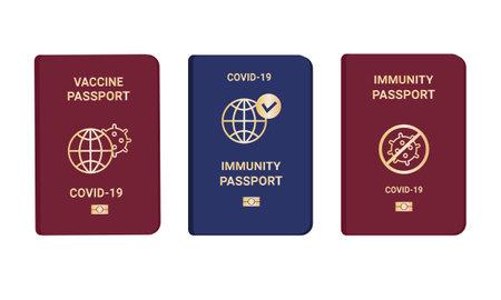 Collection coronavirus Immunity and vaccine passports. Passport with mark of immunity and vaccination. Crossed-out virus. Red and blue passport on white background. Vector flat illustration Vektorgrafik