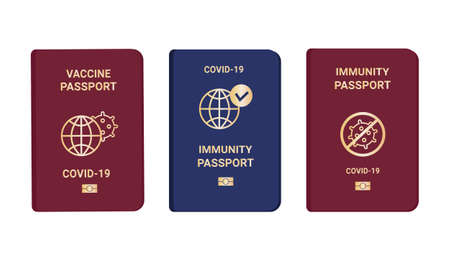 Collection coronavirus Immunity and vaccine passports. Passport with mark of immunity and vaccination. Crossed-out virus. Red and blue passport on white background. Vector flat illustration Vector Illustration