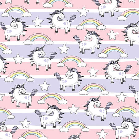 Unicorn Doodle Vector Style - Cute Unicorn Vector Cartoon Isolated Pink Purple Pattern Violet Illustration