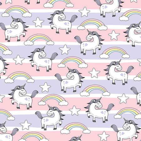 Unicorn Doodle Vector Style - Cute Unicorn Vector Cartoon Isolated Pink Purple Pattern Violet