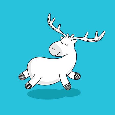 Deer Doodle Vector Style - Cute Deer Vector Cartoon Isolated