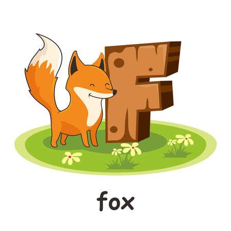 Fox Animals Wooden Alphabet Letter F
