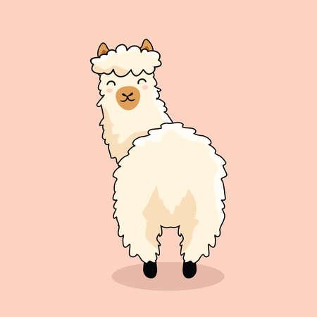 Ass Llama Cartoon Look Back Alpaca Vecteurs
