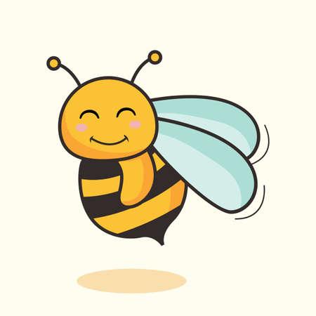 Bee Cartoon Isolated Cute Honey Bee