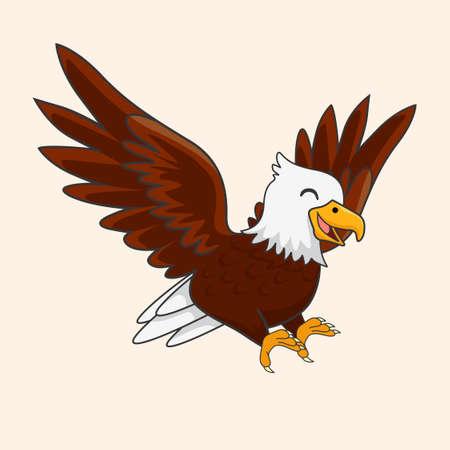 Cute Eagle Cartoon Isolated Vector