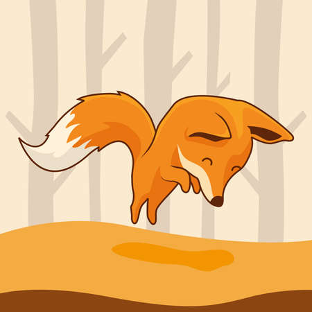 Fox Cartoon Jump Cute Animals Jumping