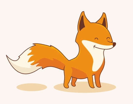 Fox Cartoon Cute Animals Isolated