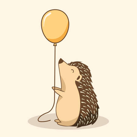 Hedgehog Cartoon Playing Balloon Porcupine Cute Animals