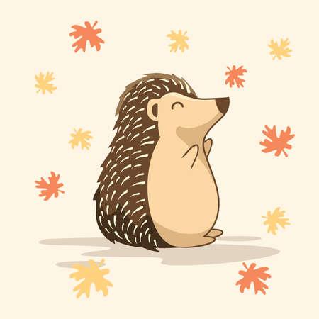 Cute Hedgehog Cartoon Playing Maple Leaf Porcupine
