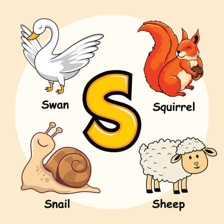Cute Animals Alphabet Letter S for Squirrel Sheep Swan Snail