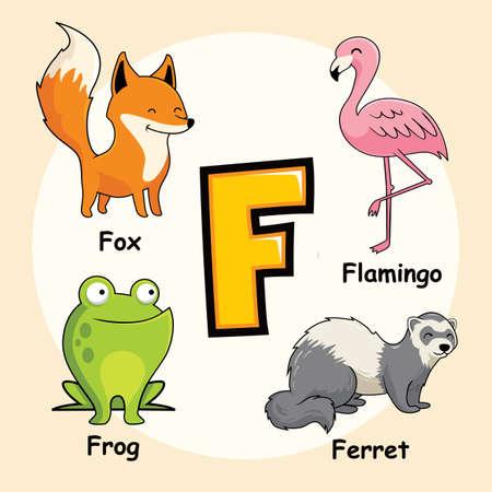 Cute Animals Alphabet Letter F for Fox Flamingo Frog Ferret
