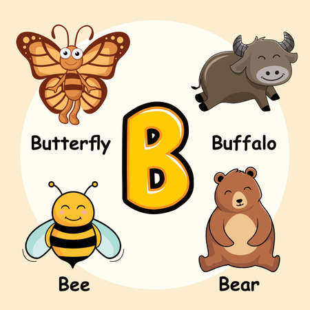 Cute Animals Alphabet Letter B for Butterfly Buffalo Bee Bear Banco de Imagens - 152661407