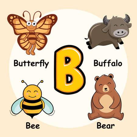 Cute Animals Alphabet Letter B for Butterfly Buffalo Bee Bear Ilustração