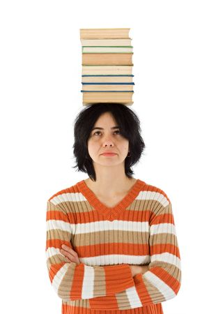 lexical: Woman with stack of books on head - conceptual view of lexical knowledge