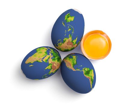 half globe: Global eggs - raw eggs painted with the world map Stock Photo