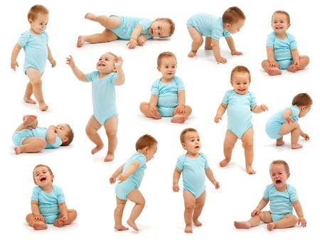 crying boy: Colecci�n de diversas situaciones de comportamiento del chico de un beb�. Aislados en blanco