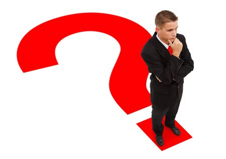 Businessman standing on question marks point and thinking