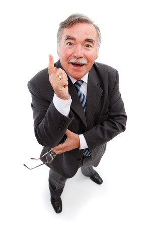 knowing: Mans gesture when found the solution to the problem Stock Photo