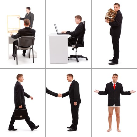 Collage of various situations in business; learning working on computer, paperwork, being an agent, meeting people and the possibility of being poor photo