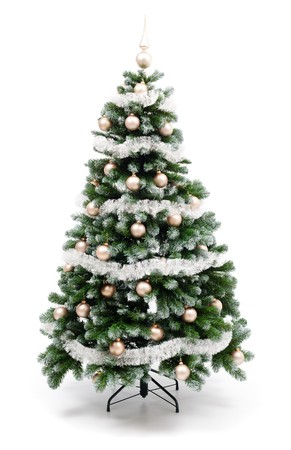 Artificial christmas tree isolated on white, decorated with golden ornaments and silver garland Stockfoto