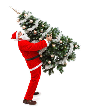 Senior man in Santa Claus uniform, carrying a decorated christmas tree photo