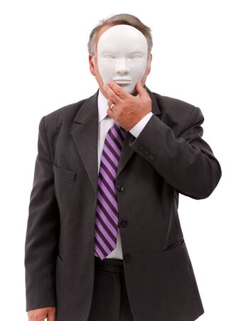 covering the face: Business man covering his face with white mask