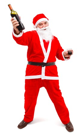Drunken Santa Claus with wine bottle and glass in hand photo